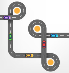 Road Infographic Background with Cars