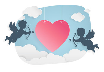 happy valentine day,heart shape and cupid on sky, Paper art style