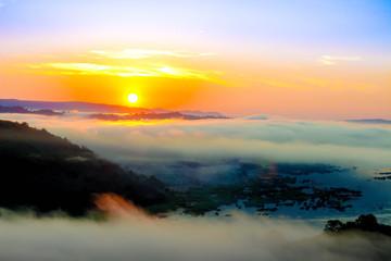 Printed kitchen splashbacks Cappuccino Mist in sunrise
