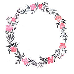 watercolor wreath with pink flowers