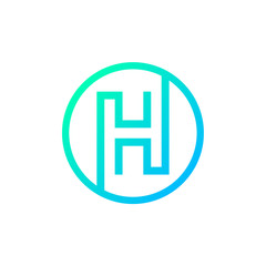 Letter H logo,Circle shape symbol,Digital,Technology,Media