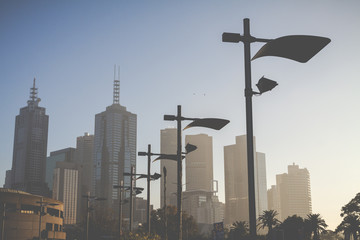 Morning time at downtown Melbourne. Australia.