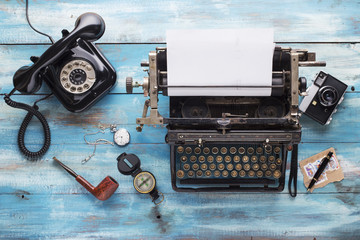 Old typewriter with old vintage accessorize for journalist
