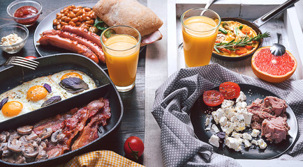 rich and high-calorie breakfast for two