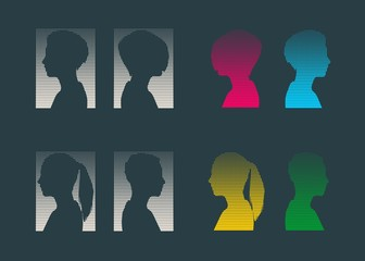 Set of silhouettes of a female head. Flat style. Vector illustration. Side view. Halftones background. Spotted Circles Overlay Dots Texture.