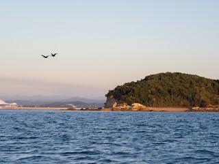 Small island in morning sunlight shot in seto inland sea in Japan