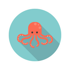 Octopus color flat icon