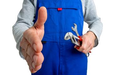 Handwerker beim Handschlag - Mündliche Vereinbarung - Klempner