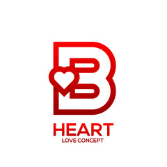 Letter B heart Red color logo,Valentine Day Love Concept Logotype