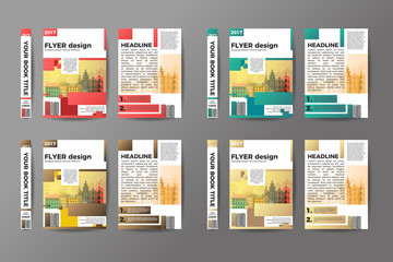 A4 Flyer Design Set. Brochure template vector. Abstract binder layout. Creative book front, back and spine covers. Material style modern magazine or poster. Annual Report Presentation.
