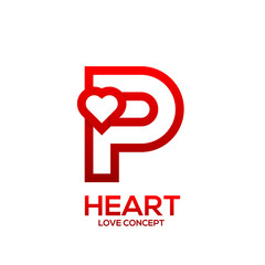 Letter P heart Red color logo,Valentine Day Love Concept Logotype
