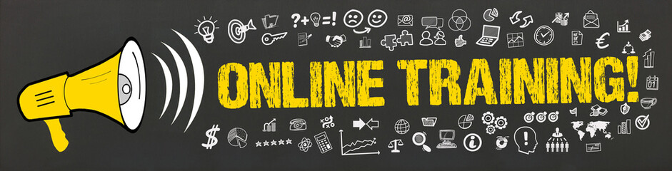 Online Training! / Megafon mit Symbole