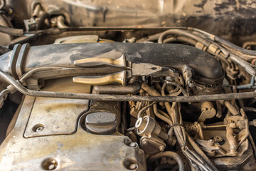 Disassembled car dirty engine