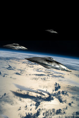 Fototapete - A fleet of flying saucers approach Earth - Elements of this image furnished by NASA.