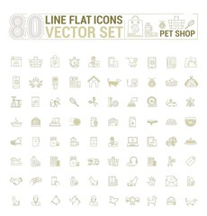 Vector graphic set. Icons in flat, contour, thin and linear design.Shop accessories for pets and owners.Simple icon on white background.Concept illustration for Web site, app.Sign, symbol, emblem.