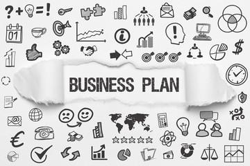 Business Plan / weißes Papier mit Symbole