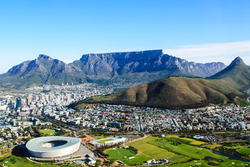 Aerial view of Table mountain in Cape Town