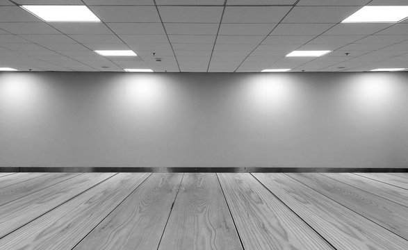 Perspective view Empty Space Monotone Black White Office Room with Row Ceiling LED Light Lamps and Lights Shade on Wall with Wooden Panel Floor for Gallery Interior / Mock Up Display Office Furniture