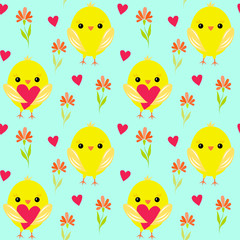 yellow chickens and hearts