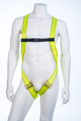 View on mannequin with yellow belayer isoleted on white background