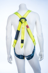 Back view on mannequin with yellow belayer isoleted on white background