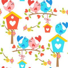 romantic pattern with love birds