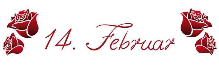 Fourteenth February lettering with red roses