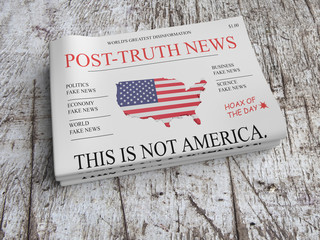 US Media Concept: Pile of Newspapers Post-Truth News On Scratched Old Wood, 3d illustration