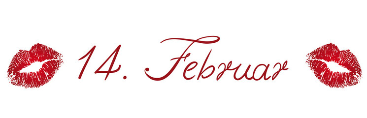 Fourteenth February lettering with kisses