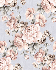 Fotorolgordijn Vintage Bloemen Fresh spring flowers seamless pattern - For easy making seamless pattern use it for filling any contours