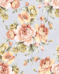 Stores photo Fleurs Vintage Fresh spring flowers seamless pattern - For easy making seamless pattern use it for filling any contours