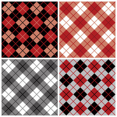 Argyle-Plaid Pattern in Red and Black