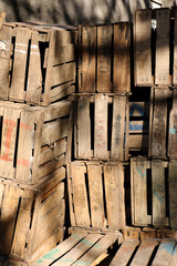 Apple crates, Imlil, Atlas Mountains, Morocco
