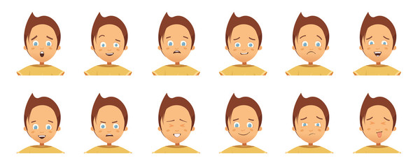 Child Emotions Avatars Collection Cartoon Style