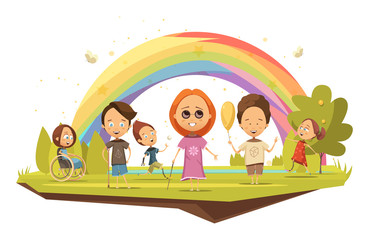 Disabled Kids Cartoon Style Illustration