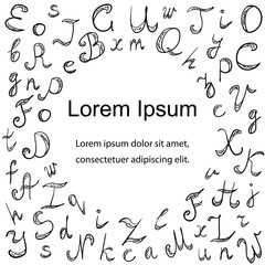 Hand Drawn Doodle Font. Children Drawings of Scribble Alphabet Arranged in a Circle. Vector Illustration.