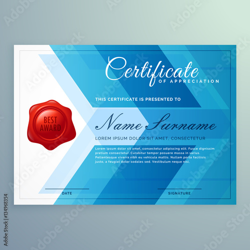 diploma certificate template made with abstract blue shapes\