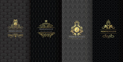Collection of design elements,labels,icon,frames, for packaging,design of luxury products.Made with golden foil.Isolated on black background. vector illustration Wall mural