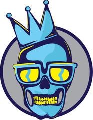 Skull Logo with crown, retro aspect