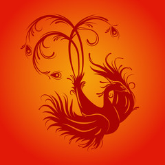 Silhouette of phoenix bird. Red fenix. Symbol of immortality. Fiery bird.