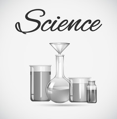 Science beakers with chemical inside