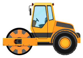 Road roller machine on white background