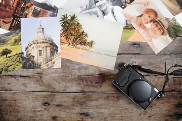 travel romantic photo memories spread on wooden background