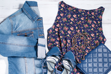 Summer female clothes, romantic style, dark blue color