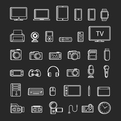 Set of multimedia device icon white color