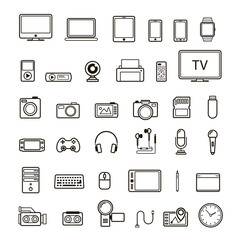 Set of multimedia device icon black color