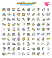 Set of finance, business and start up line icons