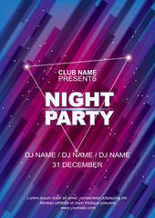 Night party poster template, Abstract blue pink background.