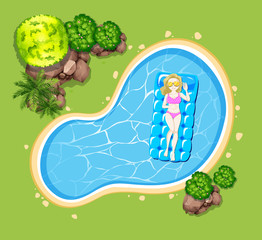 Woman on floating raft in the pool