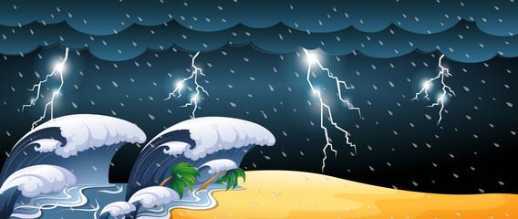 Tsunami scene with thunderstorms